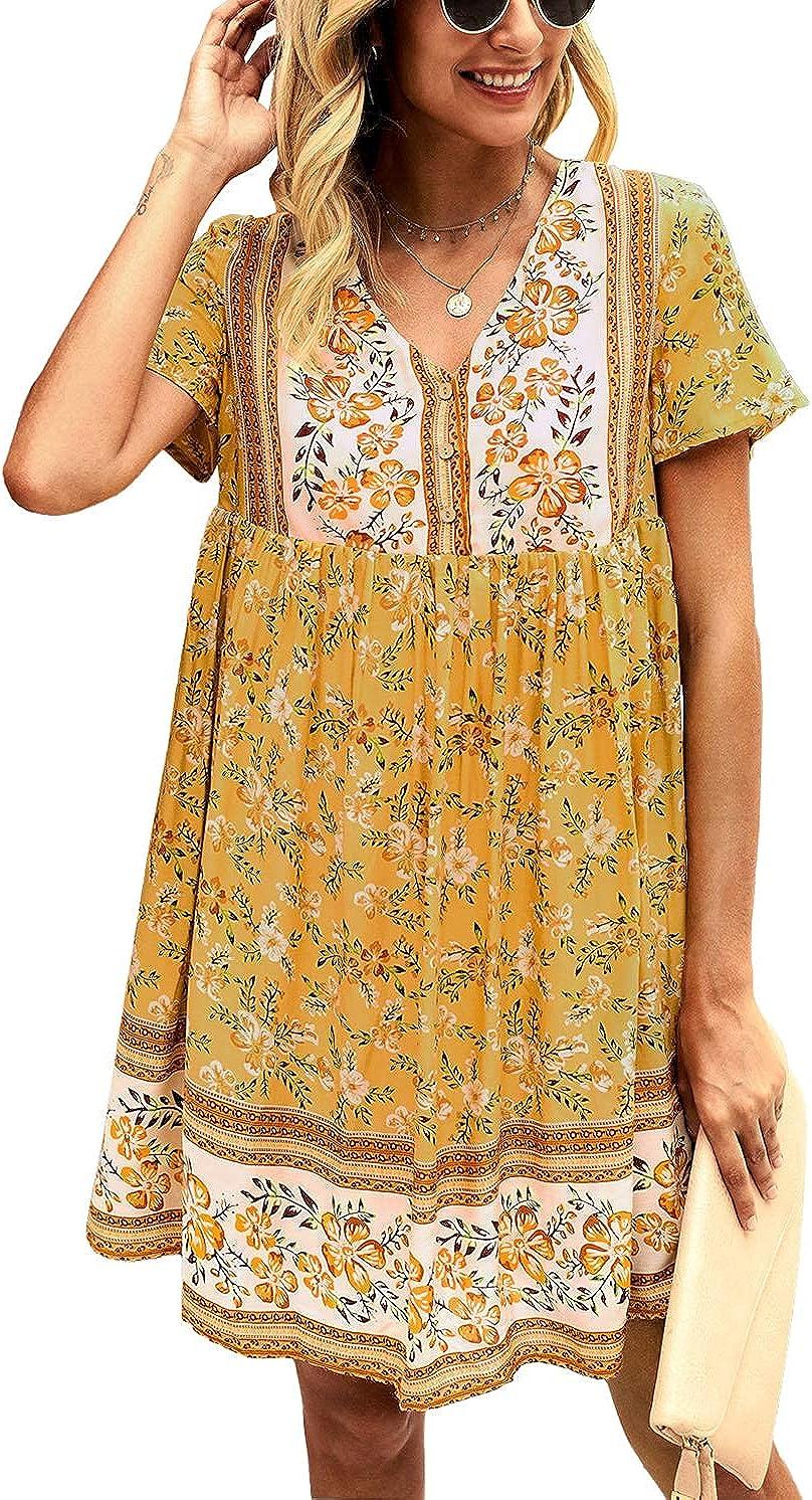 KIRUNDO Women's Summer Floral Mini Dress V Neck Short Sleeve Casual Dress Flowy Loose Cute Dress Bohemia Dress
