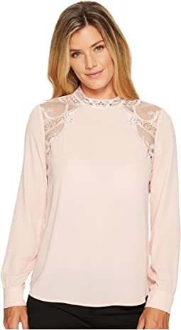 Ivanka Trump - Mock Neck Lace Trim Georgette Blouse