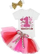 Baby Girls My First Valentine's Day Outfit Dress Romper + Tutu Skirt + Headband 3PCS Skirt Set