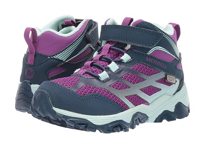 Merrell Kids  Moab FST Mid A/C Waterproof (Little Kid/Big Kid) (Navy/Turquoise) Girls Shoes