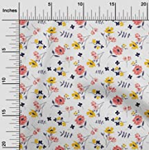 oneOone Velvet White Fabric Leaves & Flowers Floral DIY Clothing Quilting Fabric Print Fabric by Yard 58 Inch Wide