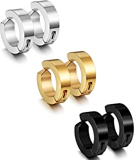 Jstyle 3 Pairs Stainless Steel Mens Womens Clip On Earrings Hoop Huggie Non-Piercing
