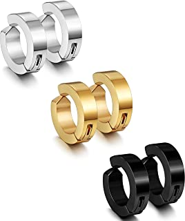 3 Pairs Stainless Steel Mens Womens Clip On Earrings Hoop Huggie Non-Piercing