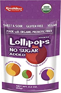 Koochikoo Sugar Free Organic 4 Flavour Lollipops Pouch 60 g, Mixed