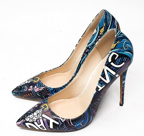 DYF Chaussures Femmes Talon Haut Extra Fines Imprimer Big Taille Bouche Peu Profondes,12 cm,voitureicature,46