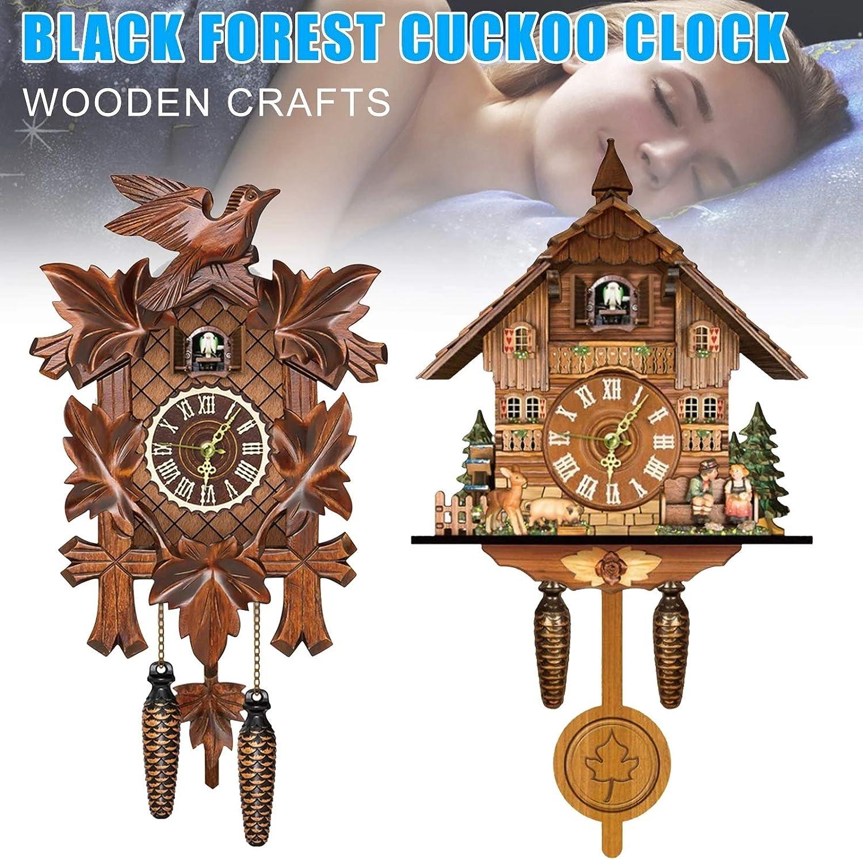 H-ENY Wood Cuckoo Clock Cuckoo Shaped Clock Antique Pendulum for ...