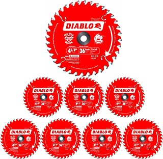 Freud D0436X Diablo 4-3/8-Inch 36 Tooth ATB Saw Blade 20-Millimeter Arbor & 3/8-Inch Reducer Bushing (8 Pack)