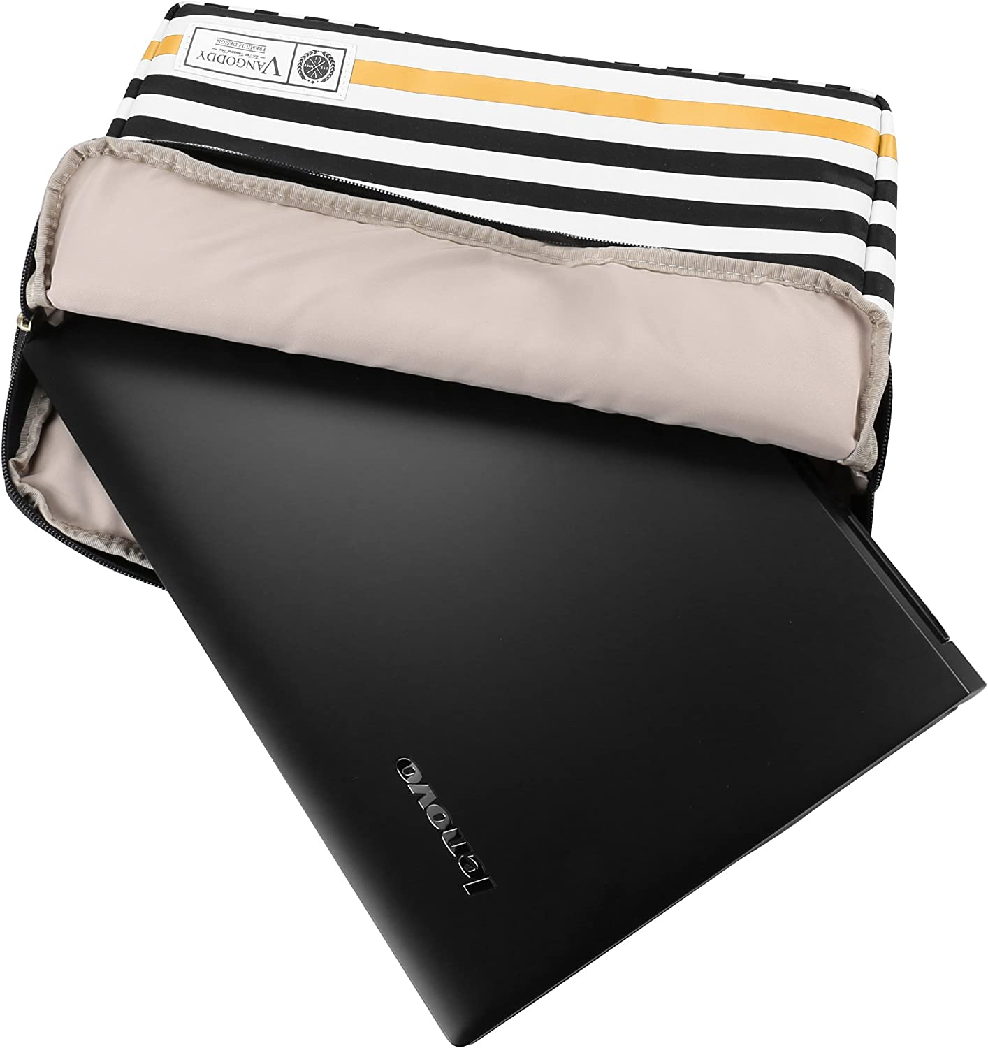 XPS 13 Series 11.6 inch 13.3 inch Tablet Laptop with Wireless Mouse and Headphone Vangoddy Luxe R Series Black White Stripe Lightweight Compact Padded Carrying Sleeve for Dell Inspiron 11 3000