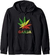 Ganja Weed - Leaf Of Marijuana In Rasta Colors Zip Hoodie