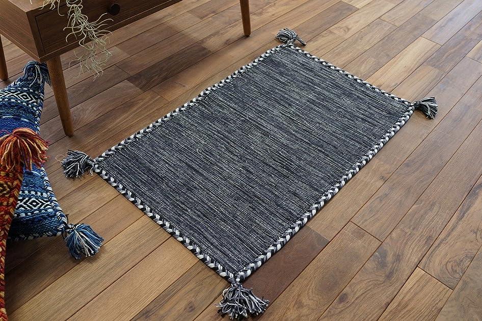 寛解与える排除キリム調 玄関 マット 屋内 室内 用 ハンドメイド キーマ (50x80 cm グレー)