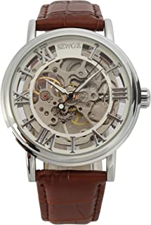 SEWOR Mens Mechanical Skeleton Transparent Vintage Style Leather Wrist Watch
