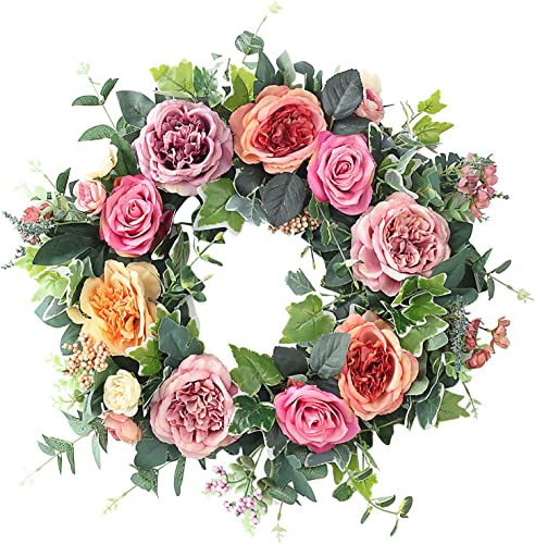 """lowest Artificial wholesale Peony Flower high quality Wreath Handmade Pink Floral Wreath Spring Summer Garland Wreath for Front Door Wall Wedding Party Home Decor, 19"""" sale"""