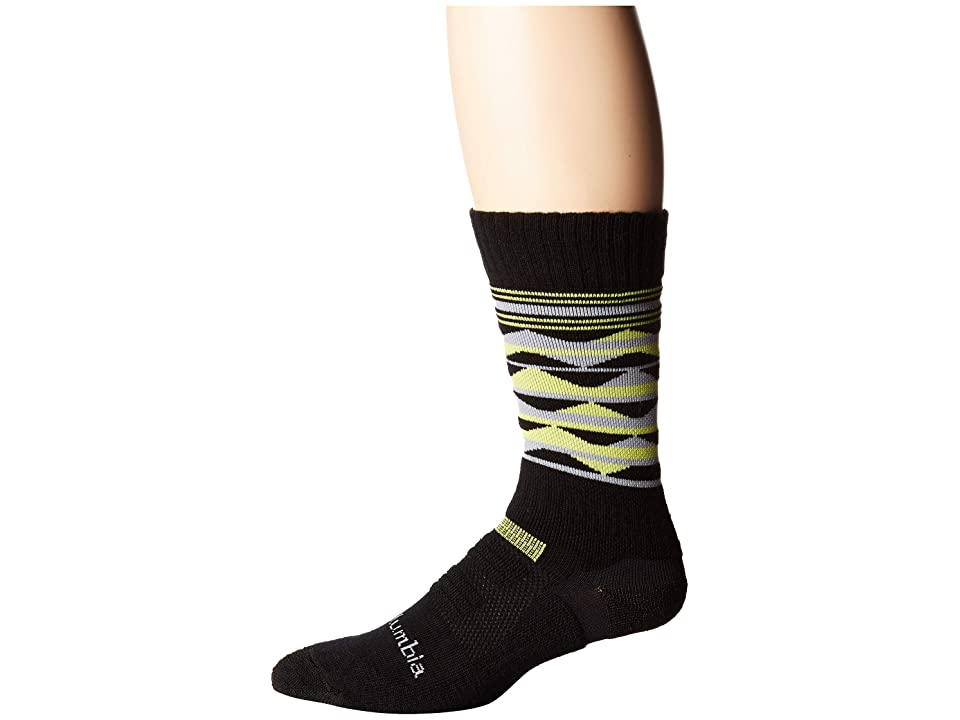 Columbia Triangles Hike Crew with Blister Protection 1-Pack (Black) Crew Cut Socks Shoes