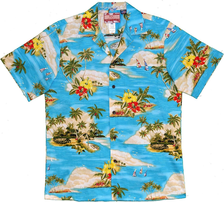 RJC 5X Big Men's Paradise Island Sailboat Hawaiian Shirt