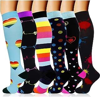 6 Pairs Graduated Compression Socks for Women Men 20-30mmhg Knee High Stockings