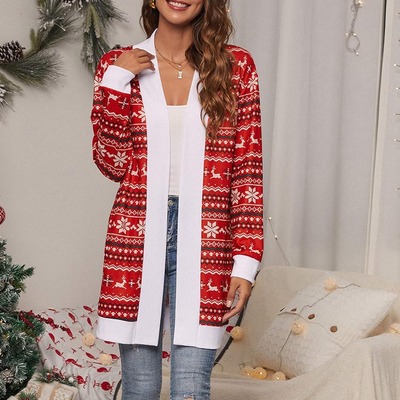 GNT Damen Langarm Cardigan Open Front Leopard Tie-Dye Print Strickpullover Cardigan Mantel Outwear Rot