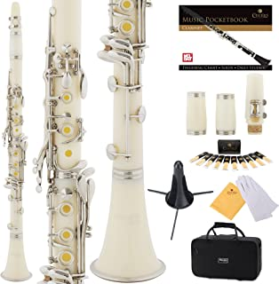 Mendini by Cecilio B Flat Beginner Student Clarinet with 2 Barrels, Case, Stand, Book, 10 Reeds, Mouthpiece and Warranty (White)