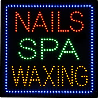 LED Nails Spa Facial Waxing Skin Care Open Light Sign Super Bright Electric Advertising Display Board for Business Shop Store Window Bedroom 23 x 23 inches (HSN0022)