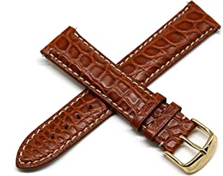 20MM Brown Genuine Alligator Leather Watch Strap Band with Gold Stainless Steel Buckle
