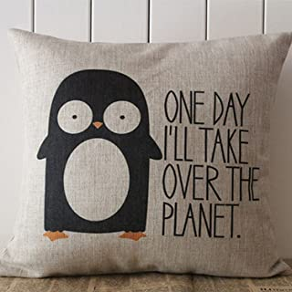 Moslion Decorative Cotton Linen Square Throw Pillow Case Cushion Cover Penguin Saying Pillowcase 18
