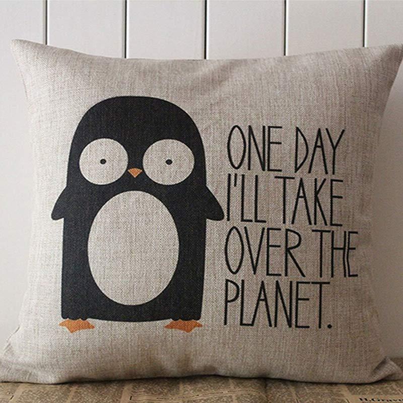 Moslion Decorative Cotton Linen Square Throw Pillow Case Cushion Cover Penguin Saying Pillowcase 18 X18