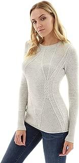Women Cotton Blend Crewneck Cable Knit Sweater