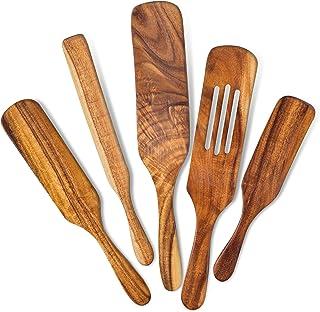 مجموعه چوبی اسپورتل 5 تایی برای پخت و پز ، وسایل چوبی اقاقیا برای آشپزخانه ، قاشق مقاوم در برابر حرارت ، مجموعه ابزارهای نچسب ، ابزارهای ورستیل ، همانطور که در اسپاتول های بامبو تلویزیون دیده می شود ، قاشق های ظروف درجه یک