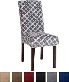 Great Bay Home Printed Velvet Plush Dining Chair Slipcovers. Washable Chair Covers. Summerhill Collection (Set of 2, Grey)