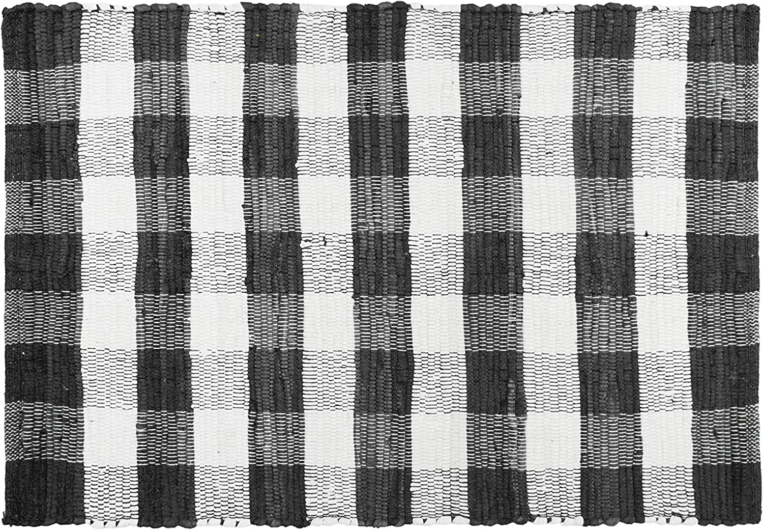 GLAMBURG Cotton Buffalo Check Plaid Rugs Washable, Handwoven Checkered Rug Welcome Door Mat 18x30 Rug for Kitchen Bathroom Outdoor Porch Laundry Living Room, Farmhouse Reversible Rag Rug Black White