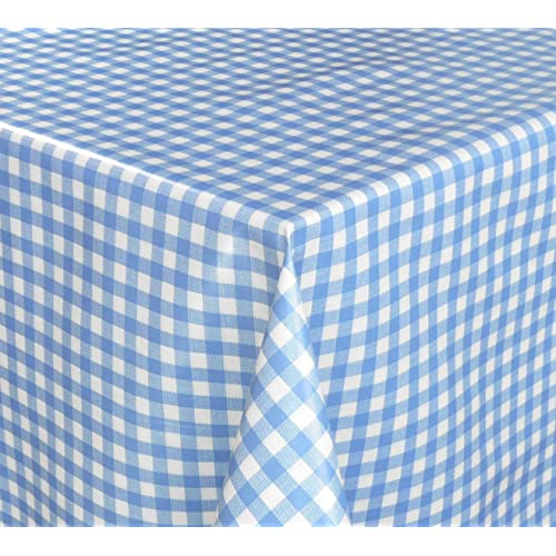Farm Animals Blue Check PVC Vinyl Wipe Clean Oilcloth Tablecloth