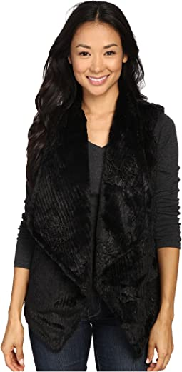Plush Faux Black Rose Embossed Fur Draped Vest w/ Fur Lining