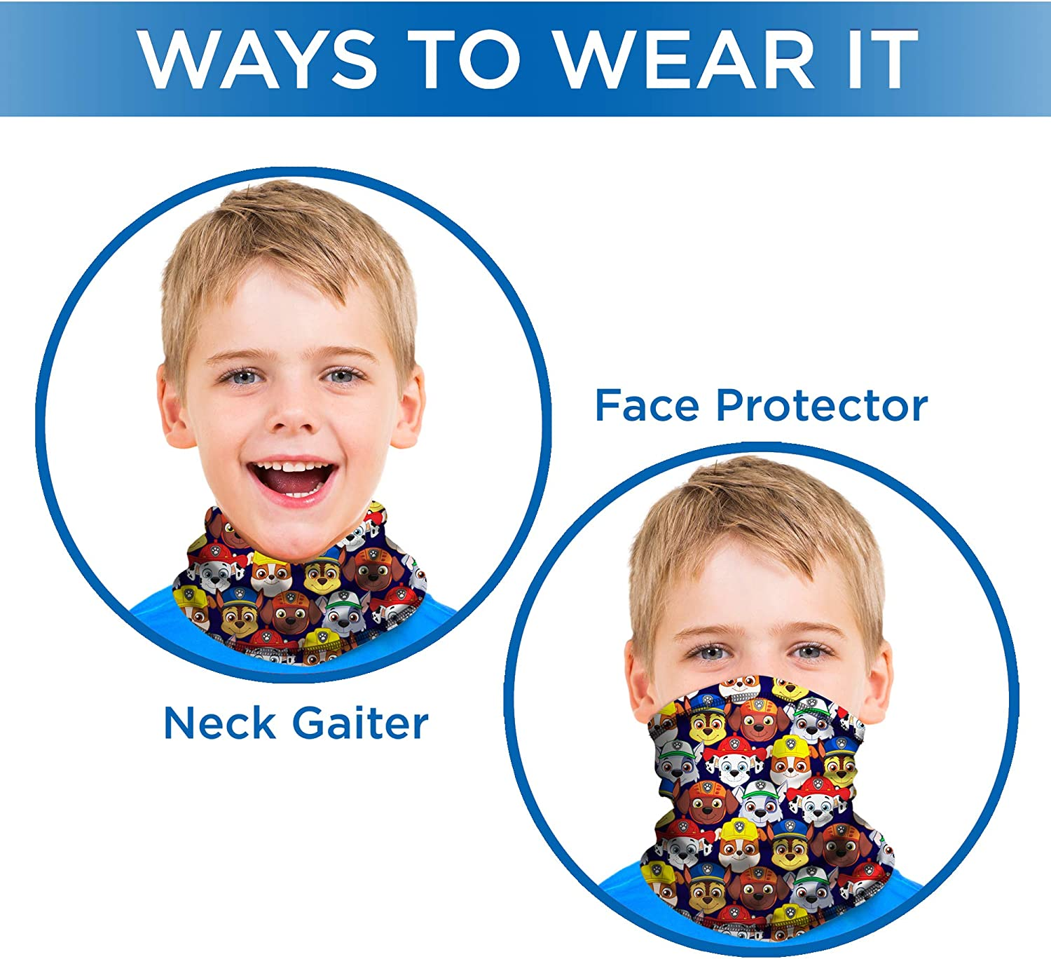 Nickelodeon Paw Patrol Kids Neck Gaiter Face Mask Mouth Cover Scarf Bandana NEW