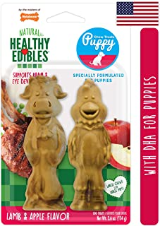 Nylabone Healthy Edibles All-Natural Puppy Chew Treats for Large Breed Puppies Lamb & Apple Medium/Wolf - Up to 30 lbs.