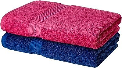 NOHUNT Solimo 100% Cotton 2 Piece Bath Towel Set, 500 GSM (Iris Blue and Paradise Pink)