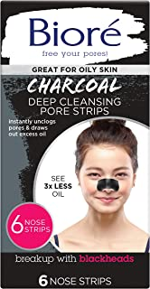 Biore Charcoal, Deep Cleansing Pore Strips for Blackhead Removal on Oily Skin, with Instant Blackhead Removal and Pore Unc...