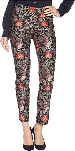 Roman Print Brushed Sateen Ankle Pants
