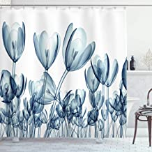 Ambesonne Flower Shower Curtain, Bunch of Different Size Flowers with X-Rays Complex Structures of Mother Nature Art, Cloth Fabric Bathroom Decor Set with Hooks, 84 Long Extra, Teal White