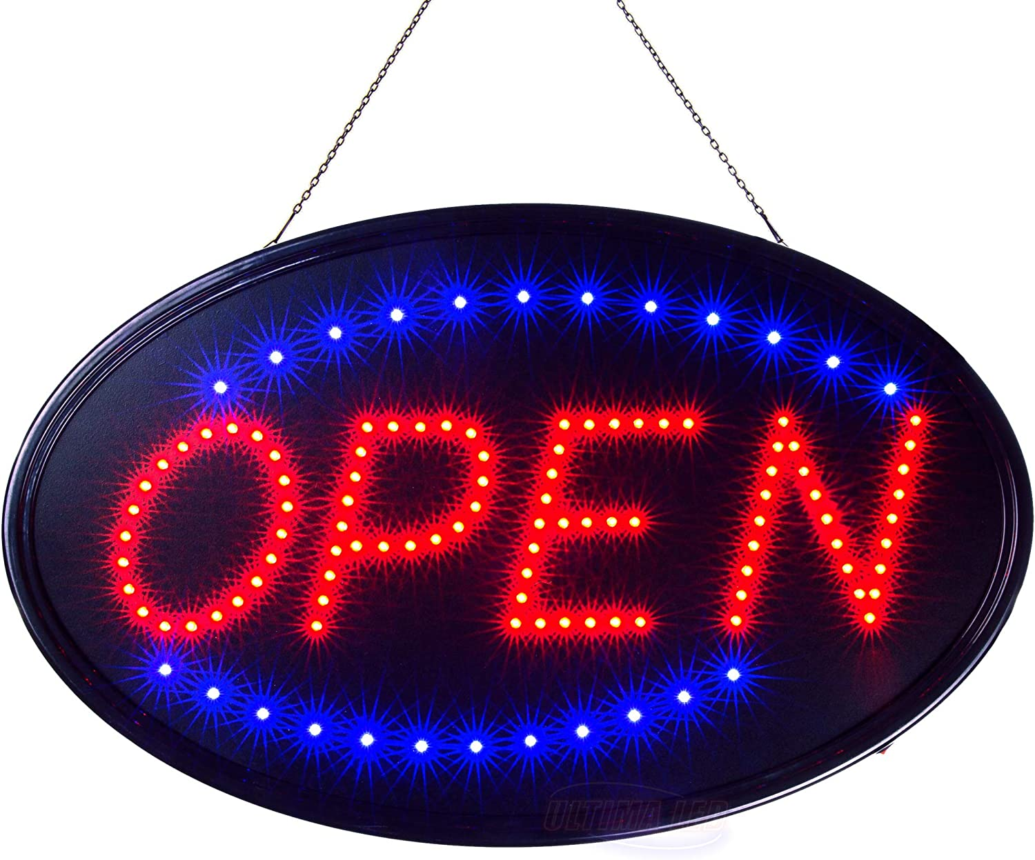 Ultima LED Neon Open Sign for Business: Jumbo Lighted Sign Open with Flashing Mode – Large Indoor Electric Light up Sign for Stores (23 x 14 in) Includes Business Hours and Open & Closed Signs