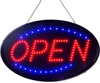 Large LED Neon Open Sign for Business: Jumbo Lighted Sign Open with Static and Flashing Modes – Electric Light up Signs for Stores, Bars, Barber Shops (23 x 14 inches, Model 3)