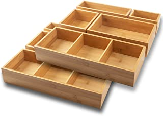 itena® Organiseur de tiroir en bambou avec séparateurs amovibles I 10 pièces I Système de rangement innovant pour bureau, ...