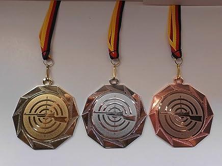 Sch/ütze mit Medaillen-Band Emblem 50mm Medaille Fanshop L/ünen Medaillen Gewehr e107 Gold - Schie/ßsport Sch/ützen mit Emblem 50mm Gro/ße Metall 70mm