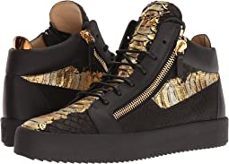 Giuseppe Zanotti May London Metallic Croc Print Mid Top Sneaker