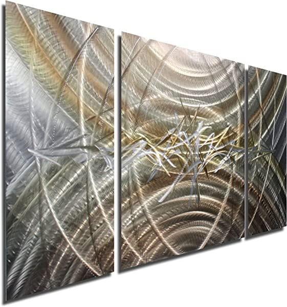 Statements2000 Silver Gold Abstract Metal Wall Art Modern Decor Large Etched Wall Sculpture Resuscitate III By Jon Allen