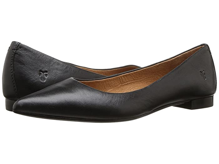 Frye  Sienna Ballet (Black Polished Soft Full Grain) Womens Flat Shoes