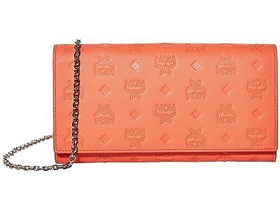 MCM Klara Monogrammed Leather Charm Flap Wallet (Hot Coral) Handbags