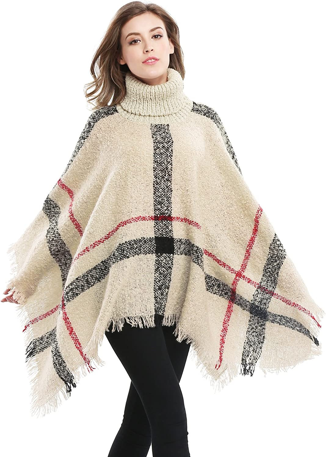 Bellady Women's Pullover Sweaters, Oversized Turtleneck Sweaters Poncho, High Neck Loose Shawl Wrap