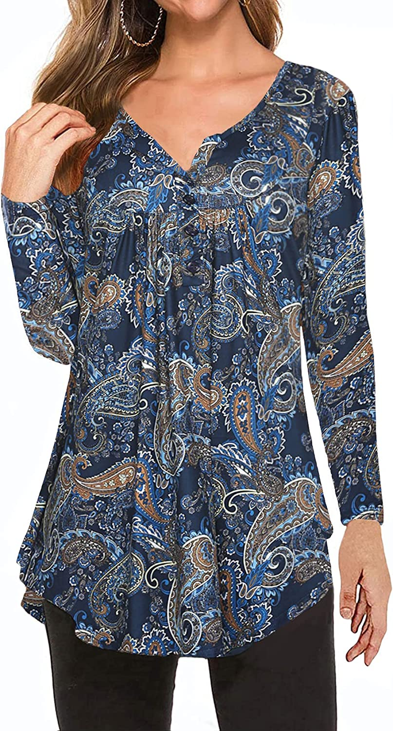 1 Year-end annual account year warranty Women's Paisley Printed Long Sleeve Henley V Pleated Neck Casual