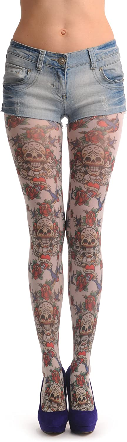 Love & Desire Skull With Roses & Birds - White Printed Designer Pantyhose (Tights)
