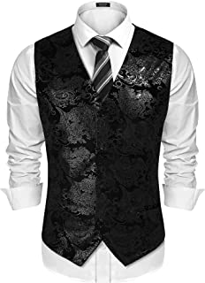 Mens Classic Suit Vest Paisley Floral Tuxedo Dress Waistcoat Vests