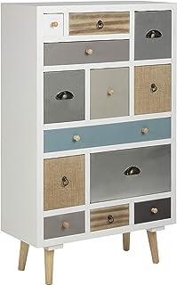 AC Design Furniture Cómoda Suwen Cajones Multicolores Patas de Pino lacado Transparente 13 Piezas Blanco 70 x 30 x 11...